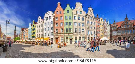 GDANSK, POLAND - MAY 11, 2015: Panorama of the Long Lane street in Gdansk, Poland. Baroque architecture of the Long Lane is one of the most notable tourist attractions of the old town.