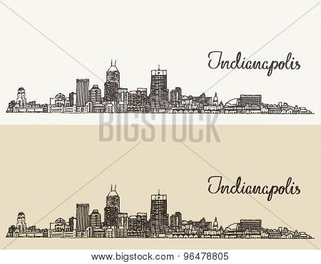 Indianapolis skyline engraved vector hand drawn