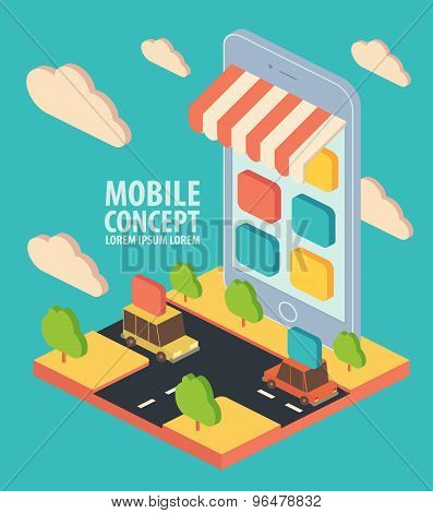 Flat isometric vector phone application concept