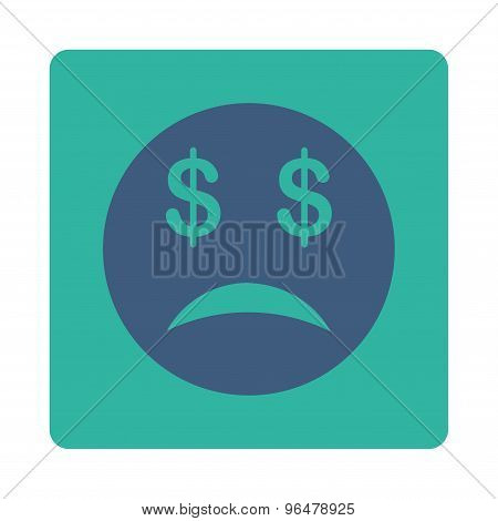 Bankrupt Smiley Icon from Commerce Buttons OverColor Set