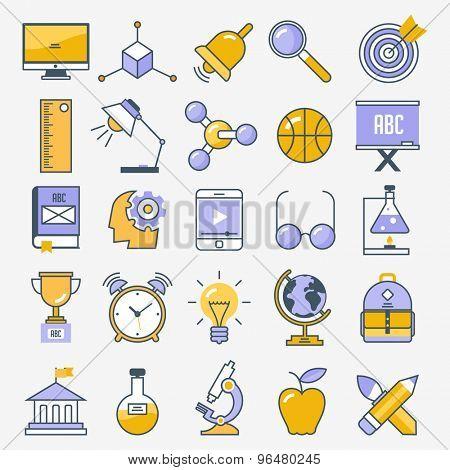 Flat design school and education icon set