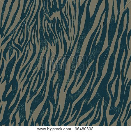 Seamless vintage style pattern with zebra or tiger print. Hand drawn vector.