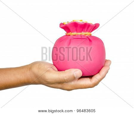 Hand Hold Save Pink Bag Money Box.