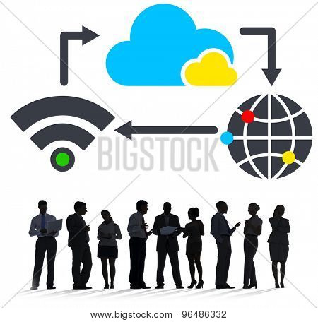 Cloud Computing Global Communication Sharing Networking Concept