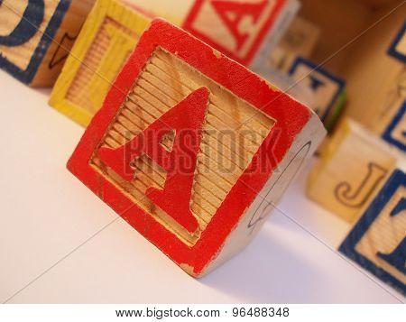 A on preschool alphabet block