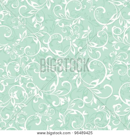 Vector Sea Green Swirly Braches Seamless Pattern