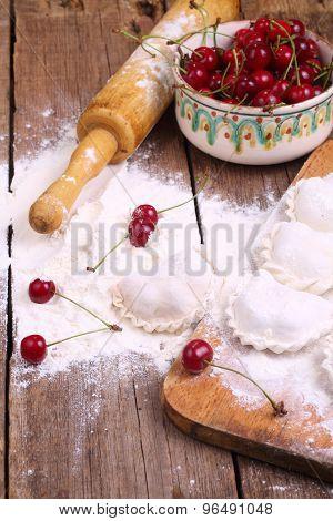 Flour, Fresh Cherry, Rolling-pin - Preparation Vareniki With A Fresh Berry