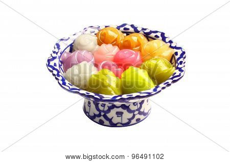 Thai Layer Sweet in rose shape, isolated,white background