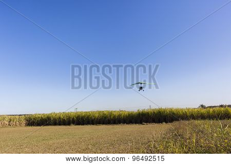 Flying Microlight Plane Landing