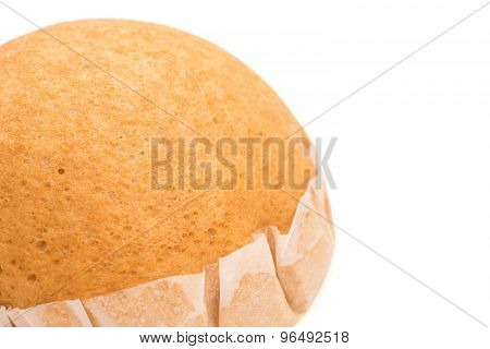 Homemade Golden Bread On White With Clipping Path And Copy Space