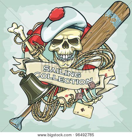 Sailor Skull Logo Design - Sailing Collection