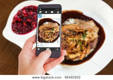 Female hand holding a smartphone against delicious duck breast dish with gravy and rice