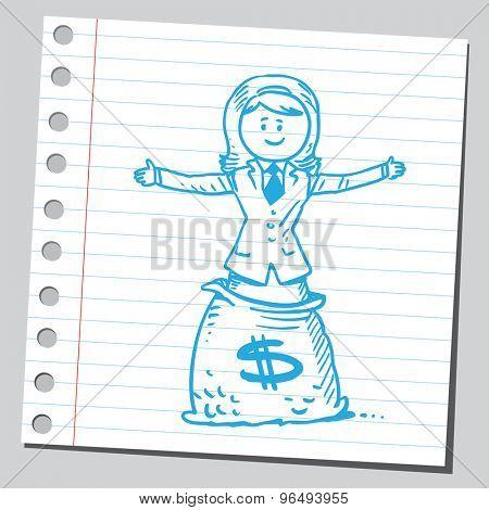 Businesswoman standing in money bag