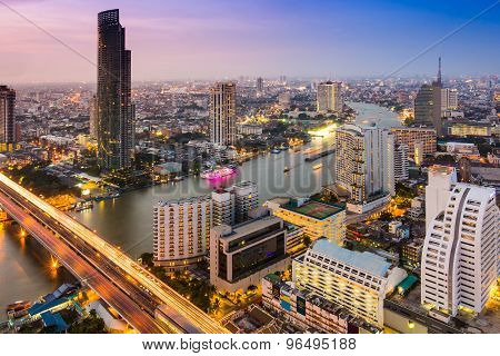 Bangkok City Scape At Evening To Night Time