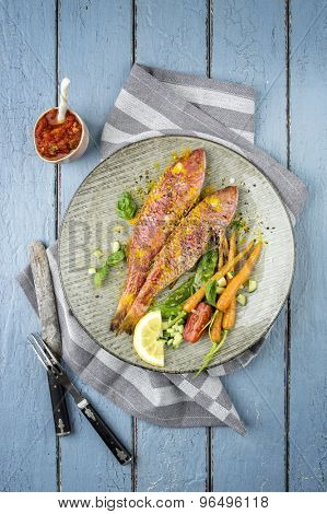 Red Mullet on Plate