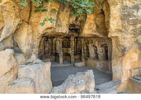 Interior of ancient remains of the Tombs of the Kings at Paphos, Cyprus.