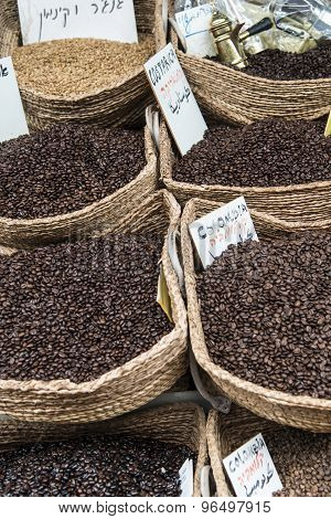 Coffee beans in the bag at the street market