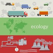 foto of polluted  - Ecology and pollution of the world air pollution ecological transport flat design vector concept illustration - JPG