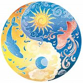 pic of dolphins  - Blue and yellow Tao with flying phoenix and swimming dolphins - JPG