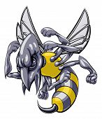 stock photo of hornet  - A mean looking hornet wasp or bee mascot character cartoon illustration - JPG