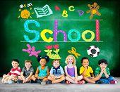 foto of handwriting  - Kids Imagination Handwriting School Learning Concept - JPG