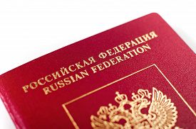 foto of passport cover  - Russian passport documents red cover with emblem - JPG