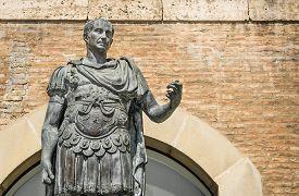 foto of spqr  - Statue of Gaius Julius Caesar in Rimini Italy - JPG