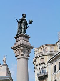 image of leopold  - A bronze statue of the Habsburg Emperor Leopold I on the stock exchange square in Trieste in Northern Italy - JPG