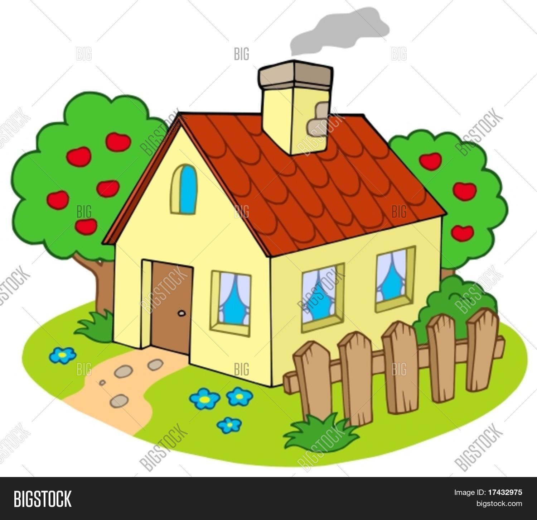 "Hausbau karikaturen  Haus mit Garten - Vektor-Illustration."" Stock-Vektorgrafiken ..."