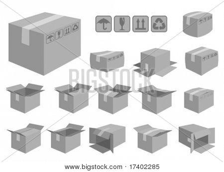 vector shipping box set