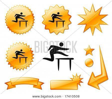 Hurdles Icon on Orange Burst Banners and Medals Original Vector Illustration