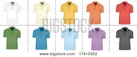 Photo-realistic vector illustration. Colorful collection of ten polo shirts.