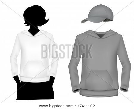 Photo-realistic vector illustration. Girl's (white and gray) sweatshirt template with human body silhouette and cap.
