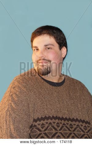 Large Young Man Over Chroma Blue