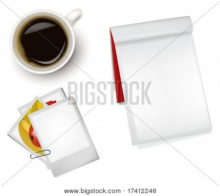 Photo frames, notebook and a cup of coffee. Photo-realistic vector.
