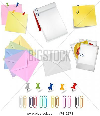 The big group of office papers. Vector.