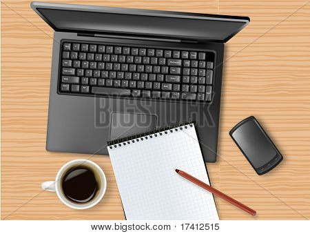 Notebook, phone and office supplies, laying on the table. Vector.