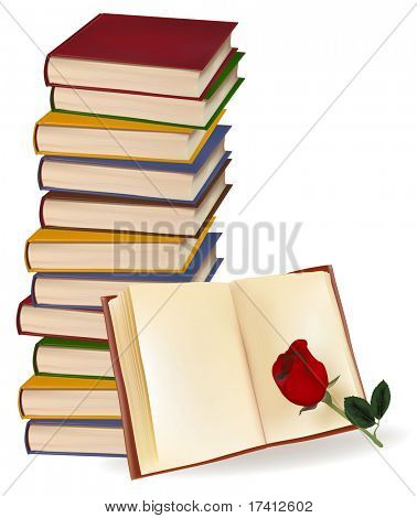 Books and red rose on white background. Photo-realistic vector illustration.
