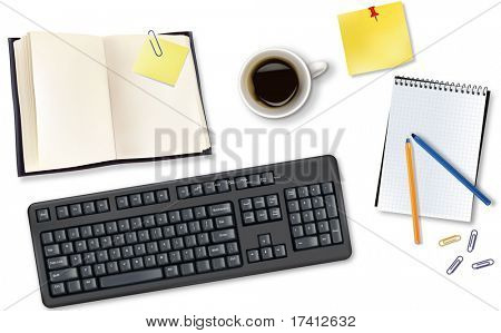 Keyboard, book and  office supplies. Vector.