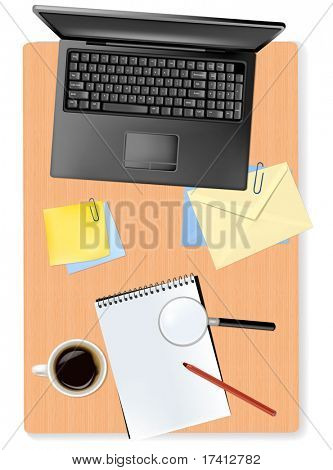 Notebook, magnifying glass and office supplies. Vector.