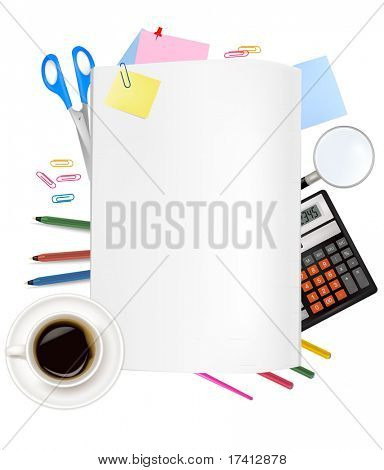 Back to school. Notepad with supplies. Vector.
