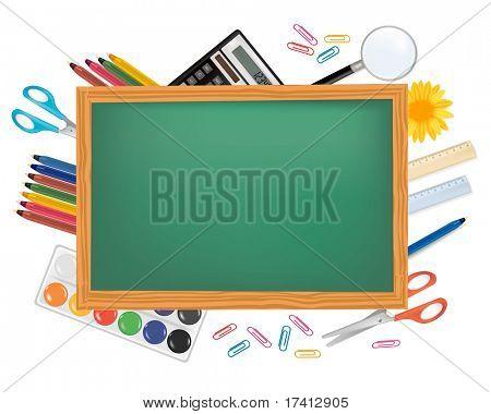 Grünen Schreibtisch mit Schulmaterial. Vektor.