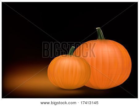 Group of fresh pumpkins. Photo-realistic vector illustration.