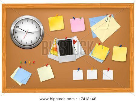 Brown blackboard with office supplies. Vector.