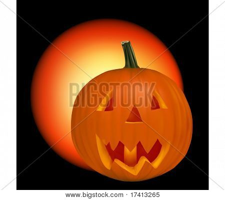 Halloween pumpkin vegetable fruit isolated on black background. Vector