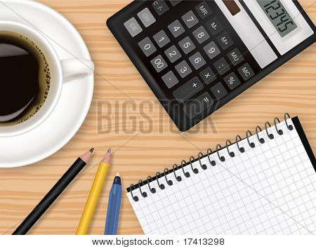 Notebook, cup of coffee and office supplies. Vector.