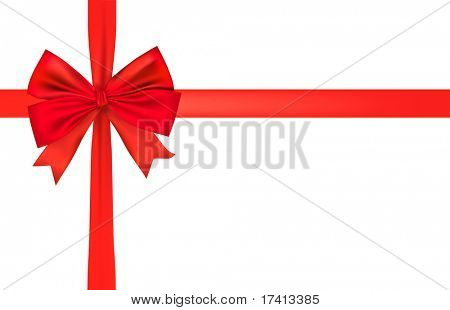 Big red holiday bow and ribbon. Vector.