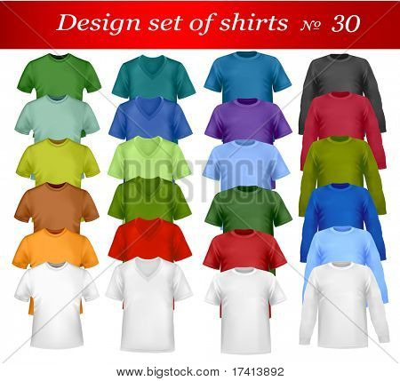 Color t-shirt design template. Photo-realistic vector illustration.