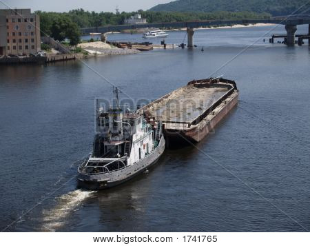 Tugboat With Barge