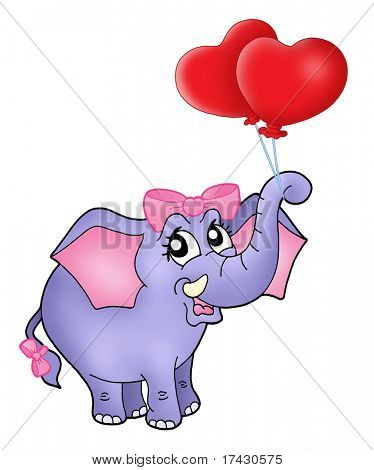 Color illustration of elephant girl with heart balloons.